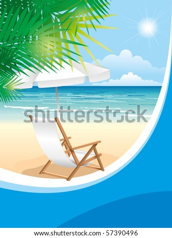 Relaxing scene on a breezy day at the tropical beach; deck chair and umbrella