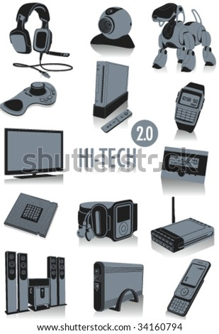 Stock Photo Release 2.0 of two-tone silhouettes  of technological objects, part of a collection of fashion and lifestyle objects