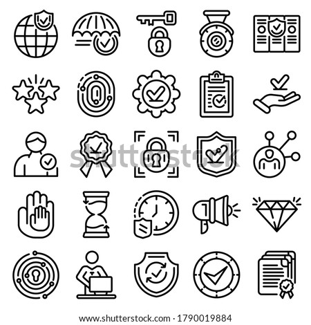 Reliability icons set. Outline set of reliability vector icons for web design isolated on white background
