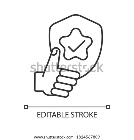 Reliability linear icon. Quality assessment, positive feedback, good rating. Dependability thin line customizable illustration. Contour symbol. Vector isolated outline drawing. Editable stroke Photo stock ©