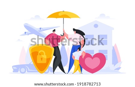 Reliable insurance for people cartoon vector concept. Contented family characters with child is under strong umbrella insurance coverage. Golden shield from danger of fires and plane crashes. Сток-фото ©