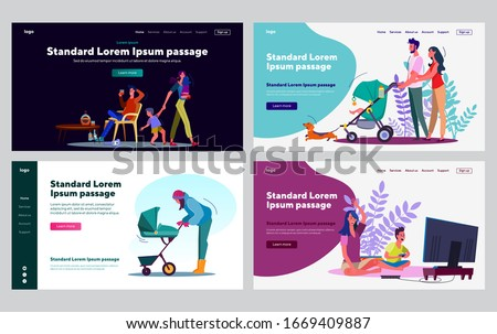 Reliable parents set. Parents and kids playing video games, walk with prams, mom leaving drunk dad. Flat vector illustrations. Parenting, family concept for banner, website design or landing web page