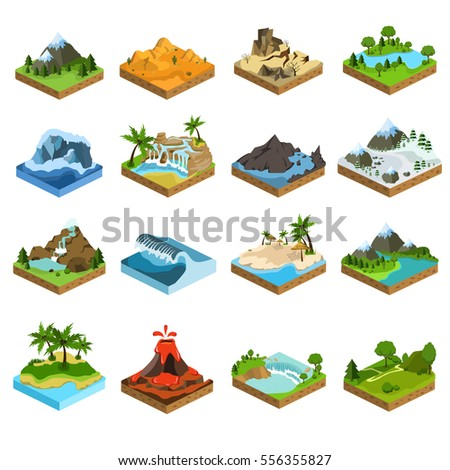 relief isometric flat icons