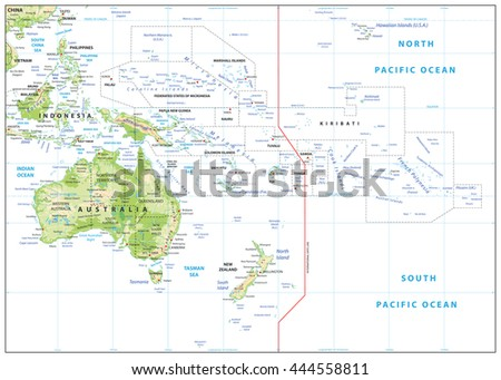 Relief Map of Oceania isolated on white. Names, town marks and national borders are in separate layers.