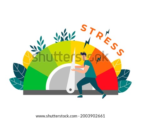 Relieve stress. Stress levels are reduced through the concept of problem solving. Tired of frustration, emotional overload. Vector illustration in flat style . Foto stock ©