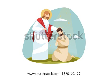 Religion, bible, chistianity concept. Jesus Christ son of God biblical religious charcter consolling blessing praying man follower disciple. Divine support and help and love of Lord illustration.
