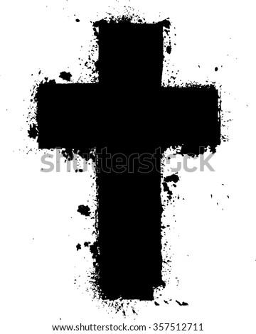 Religion Cross . Black Paint
