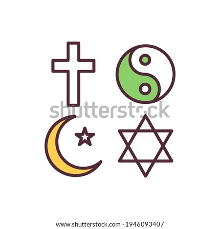 Religion freedom RGB color icon. Human rights. Religious pluralism. Manifesting religion and belief freedom. Permission for religious practices. Co-existing in society. Isolated vector illustration Сток-фото ©
