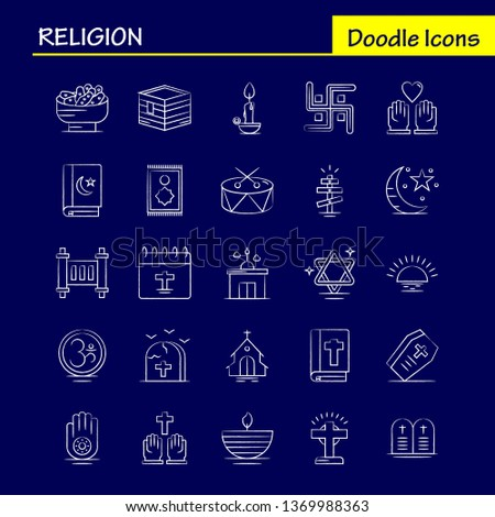 Religion Hand Drawn Icons Set For Infographics, Mobile UX/UI Kit And Print Design. Include: Coffin, Holidays, Religion, Religion, Pray, Church, Muslim Element, Icon Set - Vector