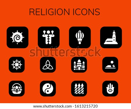 religion icon set 12 filled