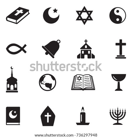 Religion Icons. Black Flat Design. Vector Illustration.  stock photo