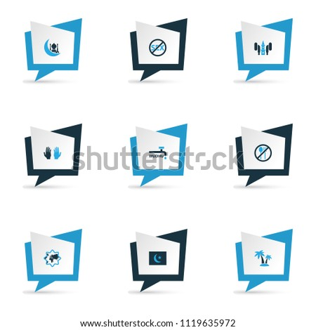 Religion icons colored set with pray, no sex, islam flag and other religions emblem elements. Isolated vector illustration religion icons.