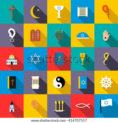 Religion icons set in flat style for any design