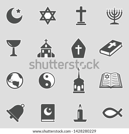 Religion Icons. Sticker Design. Vector Illustration.