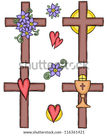 Religion - illustration of crosses with heart, flower, sun and chalice