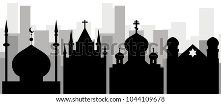Religion in the city. Black icons of the synagogue, mosque, Orthodox and Catholic churches against the background of city skyscrapers. Tolerance of religions in the city