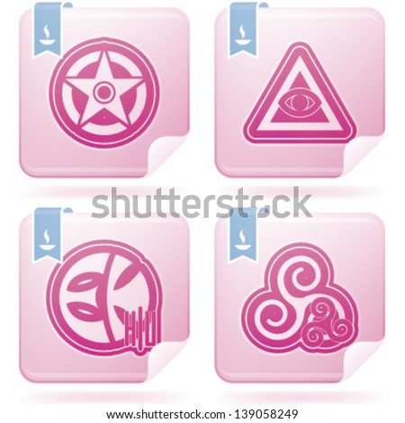 Religion is the adherence to codified beliefs and rituals, included icons from left to right, top to bottom: Wicca, Cao Dai, Eckankar, Celtic paganism. Stock photo ©