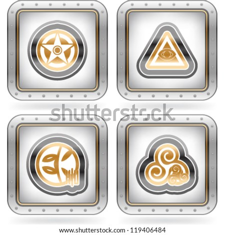 Religion is the adherence to codified beliefs and rituals, pictured here from left to right:  Kemetism, Roman paganism, Anglicanism, Thelma. Stock photo ©