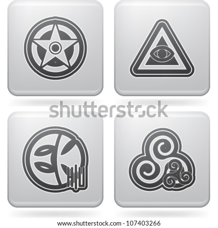 Religion is the adherence to codified beliefs and rituals, pictured here from left to right:  Wicca, Cao Dai, Eckankar, Celtic paganism. Stock photo ©