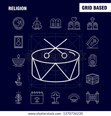 Religion Line Icons Set For Infographics, Mobile UX/UI Kit And Print Design. Include: Coffin, Holidays, Religion, Religion, Pray, Church, Muslim Element, Icon Set - Vector