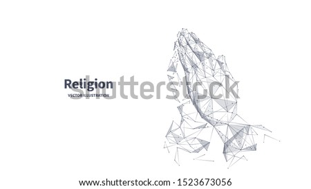 Religion low poly wireframe banner template. Polygonal prayer process, god appeal, faith power, believer hands mesh art illustration. 3D human wrists, folded handbreadths with connected dots