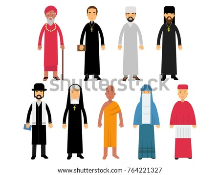 Religion ministers set, representatives of buddhism, representatives of catholicism, islam, orthodoxy, hinduism, judaism religions vector Illustrations