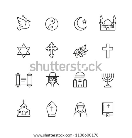 Religion related icons: thin vector icon set, black and white kit - Shutterstock ID 1138600178