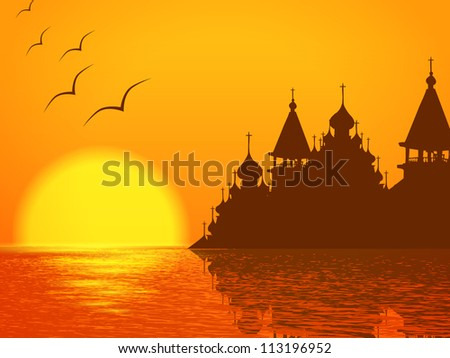 Religion Scenery with Church Cupola Silhouette and Sunset at the Lake