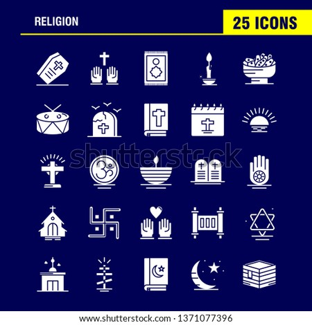 Religion Solid Glyph Icons Set For Infographics, Mobile UX/UI Kit And Print Design. Include: Coffin, Holidays, Religion, Religion, Pray, Church, Muslim Element, Icon Set - Vector