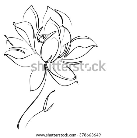 Religion Symbol Lotus Drawing Vector Graphics With Floral Pattern For Design
