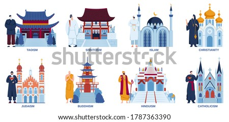 Religion temple church mosque vector illustration flat set. Cartoon religious worship places culture architecture collection with traditional shrine temple, religionist characters isolated on white