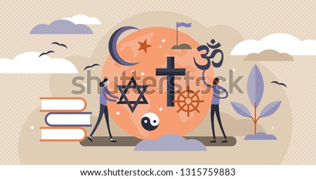 Religion vector illustration. Flat tiny symbolic element collection set persons concept. Theology study and knowledge about christianity, islam and muslim ethnic heritage. Global mythology education. Stock photo ©
