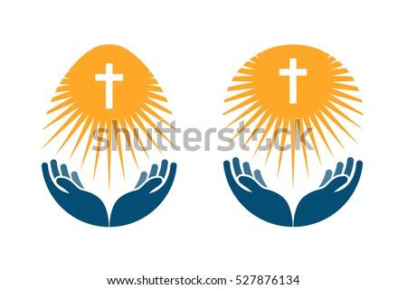Religion vector logo. Church, Pray or Bible icon