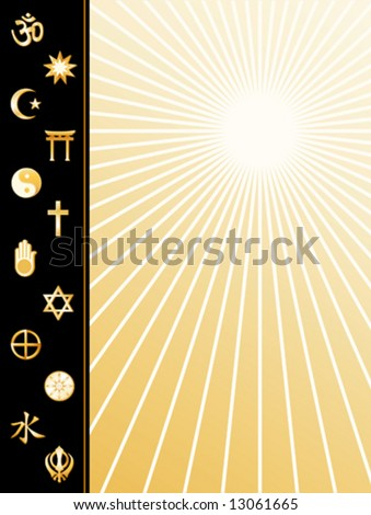 Religions of the World Poster, gold symbols: Hindu, Bahai, Islam, Shinto, Tao, Christian, Jain, Judaism, Native Spirituality, Buddhism, Confucianism, Sikh. Copy space, star burst. EPS8 compatible.