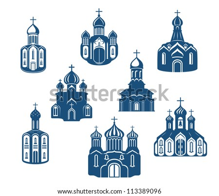 Religious churches and temples set for religion design, such a logo template. Jpeg version also available in gallery