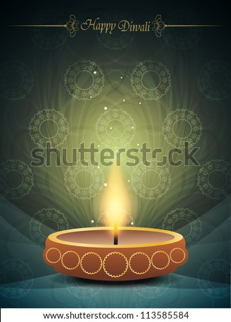 religious colorful background with beautiful lamp for diwali festival