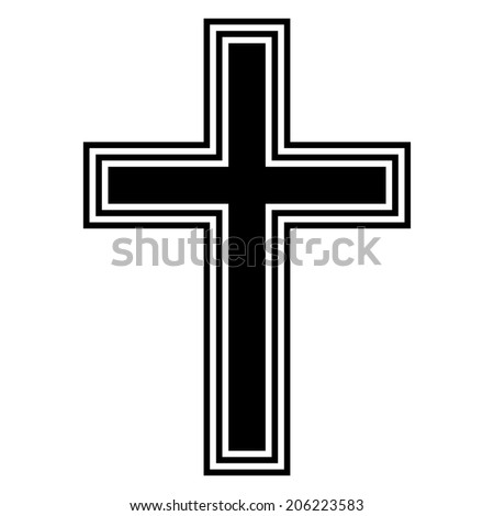 Religious cross on white background. Vector illustration.