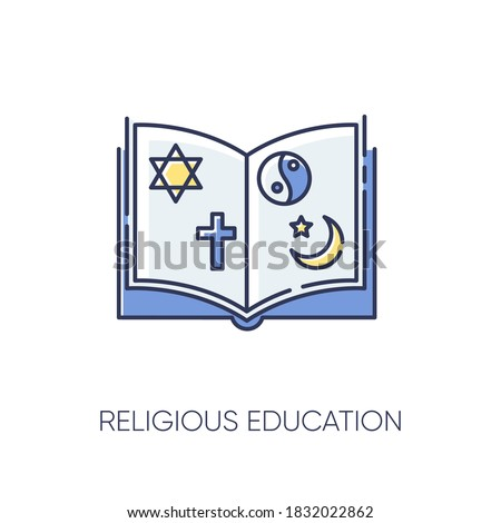 Religious education RGB color icon. Book with judaism, christianity, taoism and islam signs. Theology subject. Studying religion. Isolated vector illustration Stock photo ©