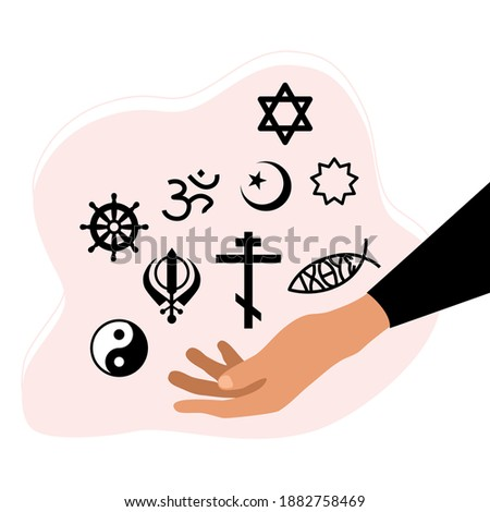 Religious Freedom day poster.Hand holding various spiritual symbols.Human Solidarity.Our unity in diversity.Theology and sacred signs.Respect all choice. Vector in flat style Stock photo ©
