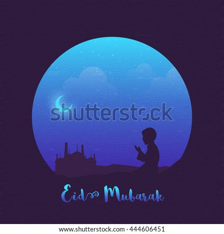 Religious Muslim Boy offering Namaz (Islamic Prayer) in front of a Mosque in night, Beautiful Islamic Background, Elegant Greeting Card design for Muslim Community Festival, Eid Mubarak celebration.