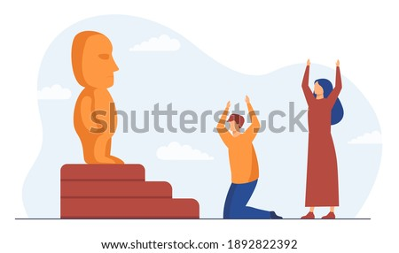 Religious people worshipping idol. Statue, holy table, cult. Flat vector illustration. Religion, culture, tradition concept for banner, website design or landing web page Stock photo ©