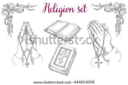 Religious set of praying hands, religious literature, the Bible, Jesus prayer