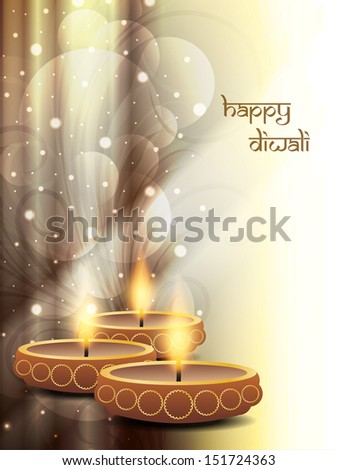 religious sparkling light brown color background design for diwali festival with beautiful lamps vector illustrator