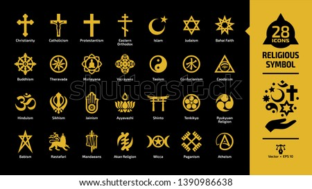 Religious symbol yellow icon set on a black background with christian cross, islam crescent and star, judaism star of david, taoism yin and yang, shinto torii gate religion glyph sign.