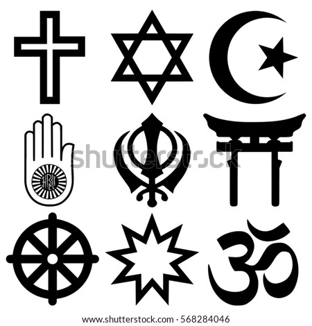 Religious symbols from the top nine organised faiths of the world according to Major world religions