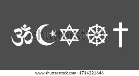 Religious symbols icon set. Vector illustration, flat design.