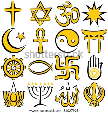 Religious Symbols: Set of 16 religious symbols, executed in line art.  No transparency and gradients used.