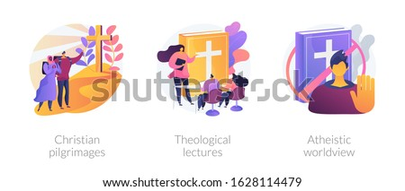 Religious tourism, visiting holy places. Church values promotion. Christian pilgrimages, theological lectures, atheistic worldview metaphors. Vector isolated concept metaphor illustrations Stock photo ©