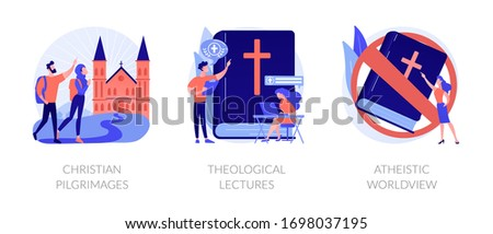 Religious tourism, visiting holy places. Church values promotion. Christian pilgrimages, theological lectures, atheistic worldview metaphors. Vector isolated concept metaphor illustrations