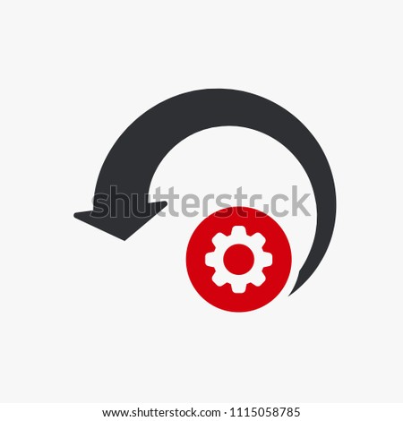 Reload icon, arrows icon with settings sign. Reload icon and customize, setup, manage, process symbol. Vector illustration